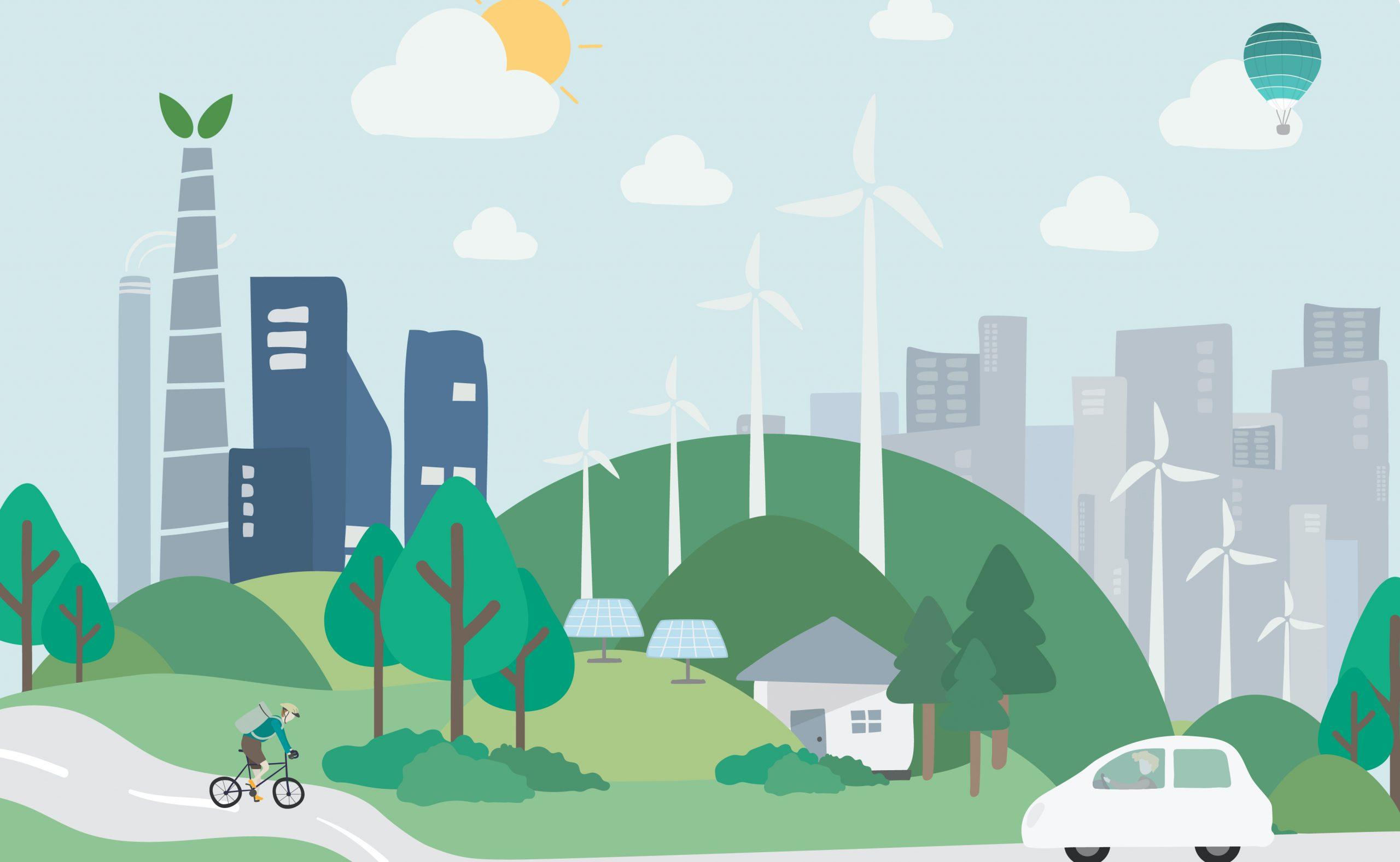Een groene wereld, met windmasten, bomen en elektrische auto's