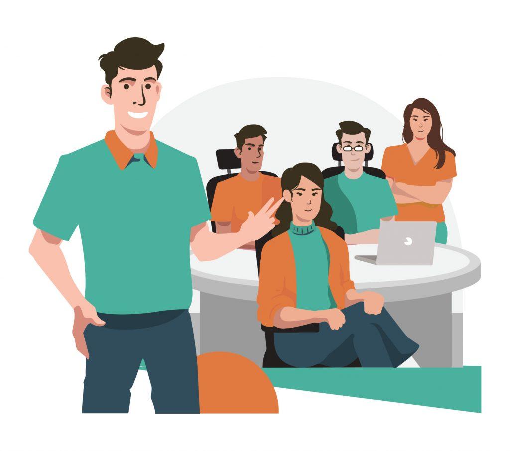 Werknemers van telefonie oplossingen