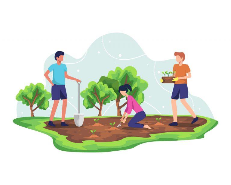 Mensen die samen werken aan een groenere wereld door bomen te planten