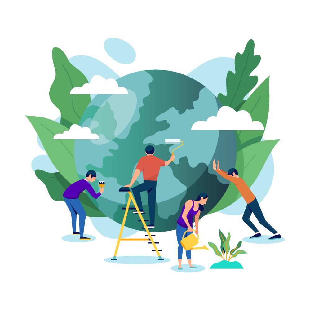 Mensen die samen werken aan een groenere wereld door het planten van bomen